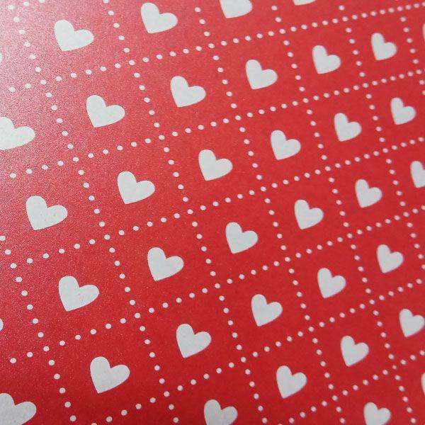 Papel Coração Ref 02 - Pérola Vermelho com Branco - Tam. 30,5x30,5cm - 180g/m²