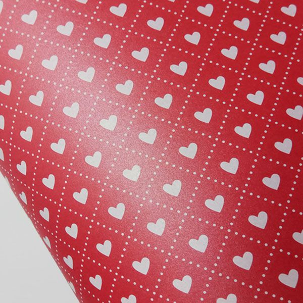 Papel Coração Ref 02 - Pérola Vermelho com Branco - Tam. 32x65cm - 180g/m²
