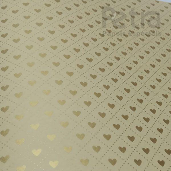 Papel Coração  Ref 02 - Sahara com Dourado - Tam. 30,5x30,5cm - 180g/m²