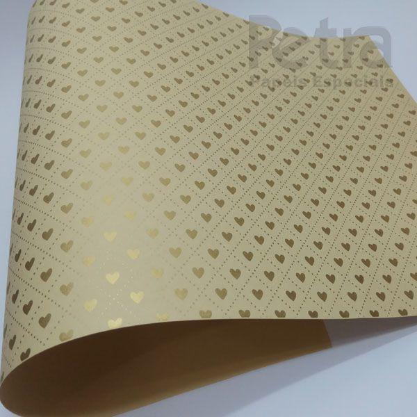 Papel Coração Ref 02 - Sahara com Dourado - Tam. 47x65cm - 180g/m²