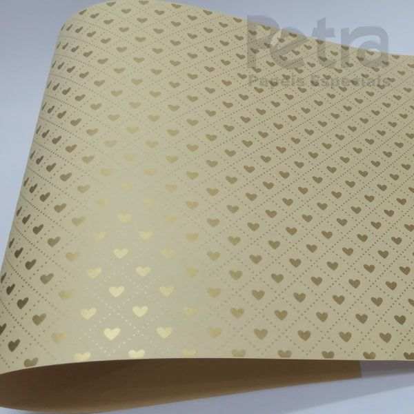 Papel Coração Ref 02 - Sahara com Dourado - Tam. A3 - 180g/m²