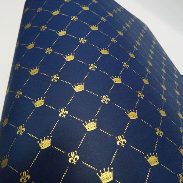 Papel Coroa - Azul Escuro com Dourado - Tam. 32x65cm - 180g/m²