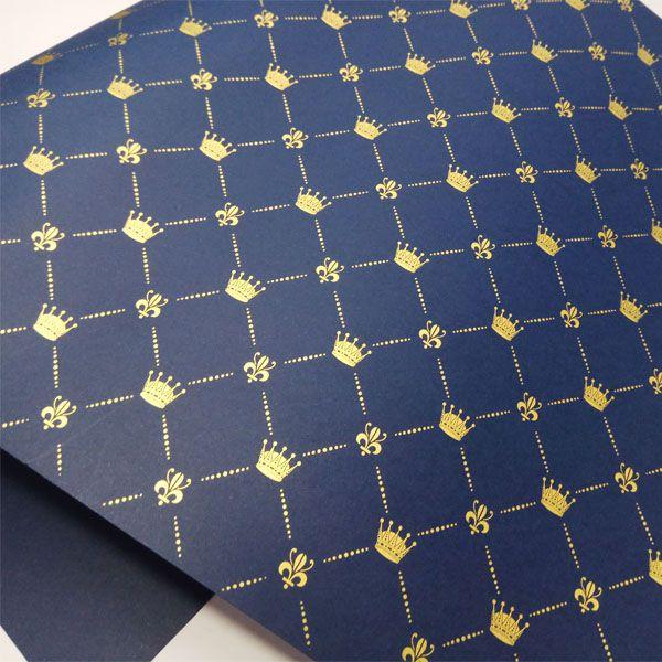 Papel Coroa - Azul Escuro com Dourado - Tam. 47x65cm - 180g/m²