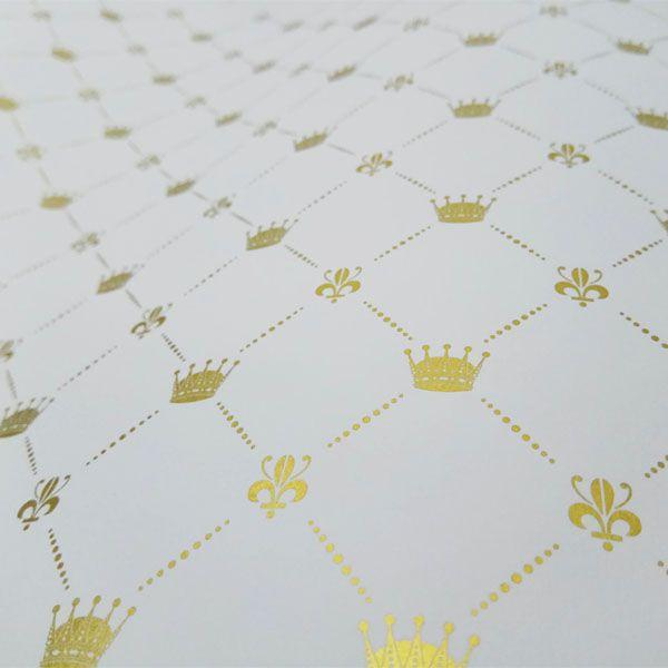 Papel Coroa - Branco com Dourado - Tam. 30,5x30,5 - 180g/m²