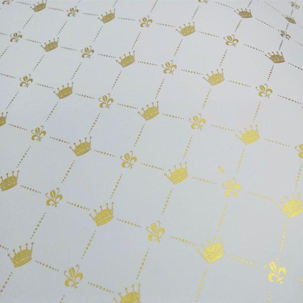 Papel Coroa - Branco com Dourado - Tam. 47x65cm - 180g/m²