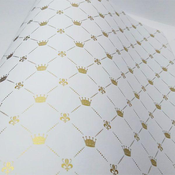 Papel Coroa - Branco com Dourado - Tam. A3 - 180g/m²