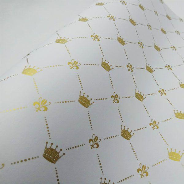 Papel Coroa - Branco com Dourado - Tam. A4 - 180g/m²