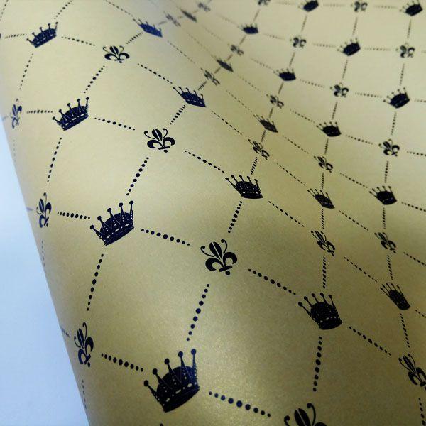 Papel Coroa - Pérola Ouro com Preto - Tam. 32x65cm - 180g/m²