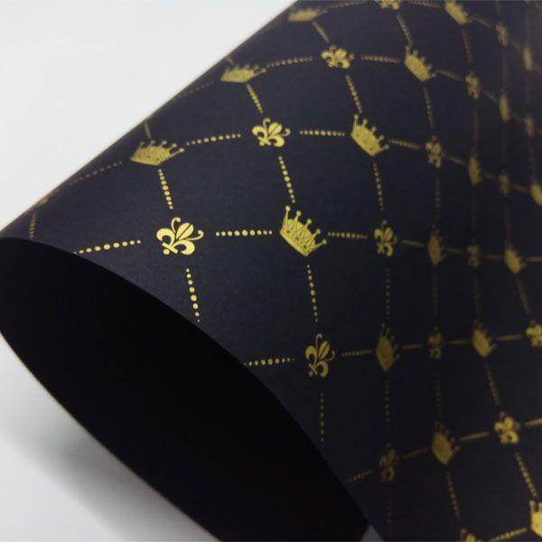 Papel Coroa - Preto com Dourado - Tam. 30,5x30,5 - 180g/m²