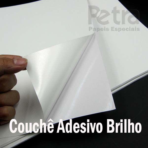 Papel Couchê Adesivo Brilho - Tam. A4 - 190g/m² - 100 folhas