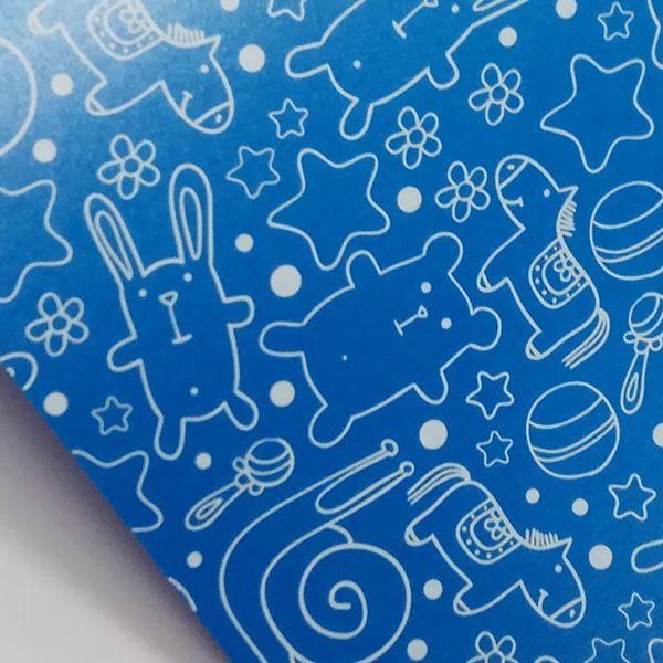 Papel Cute - Pérola Azul com Branco - Tam. 30,5x30,5cm - 180g/m²