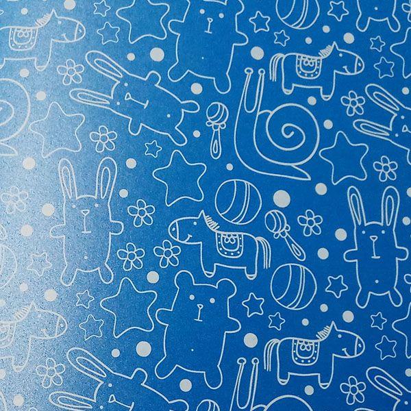 Papel Cute - Pérola Azul com Branco - Tam. 32x65cm - 180g/m²