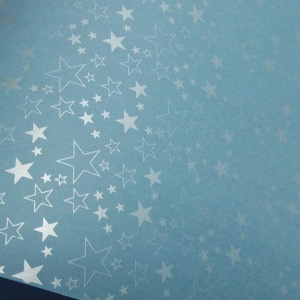 Papel Estrelas - Azul Céu com Prata - Tam. 47x65cm - 180g/m²