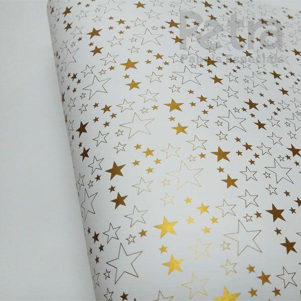 Papel Estrelas - Branco com Dourado - Tam. 30,5x30,5 - 180g/m²