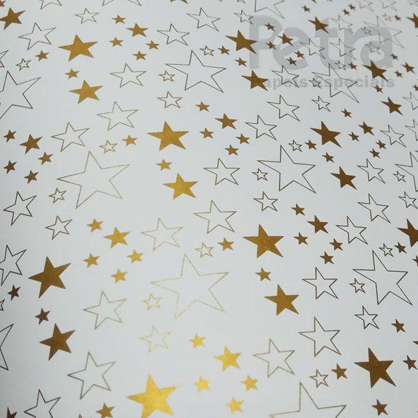 Papel Estrelas - Branco com Dourado - Tam. 32x65cm - 180g/m²
