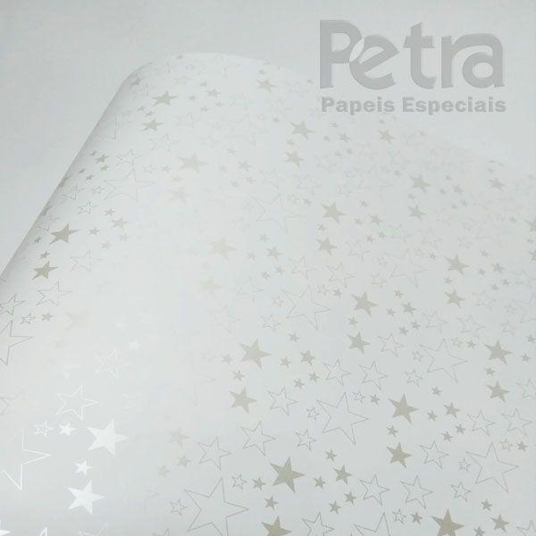Papel Estrelas - Branco com Pérola - Tam. 30,5x30,5 - 180g/m²