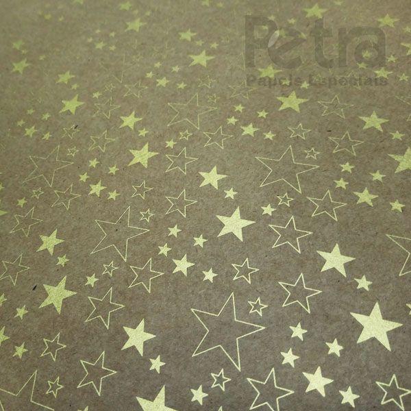 Papel Estrelas - Kraft com Dourado - Tam. 32x65cm - 180g/m²