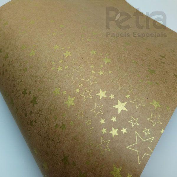 Papel Estrelas - Kraft com Dourado - Tam. A3 - 180g/m²