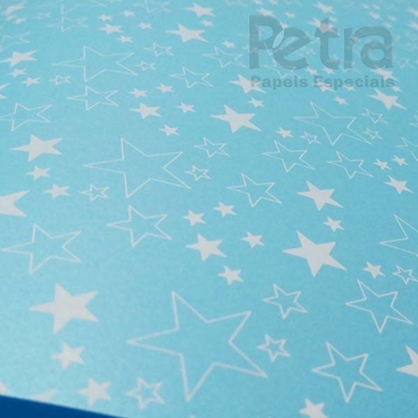 Papel Estrelas - Pérola Azul Claro com Branco - Tam. 32x65cm - 180g/m²