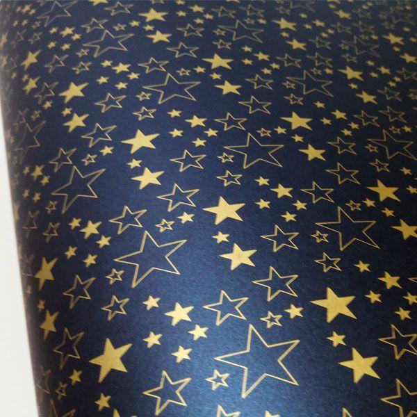 Papel Estrelas - Pérola Azul Petróleo com Dourado - Tam. 32x65cm - 180g/m²