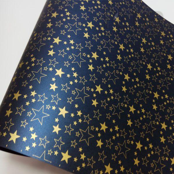 Papel Estrelas - Pérola Azul Petróleo com Dourado - Tam. 47x65cm - 180g/m²