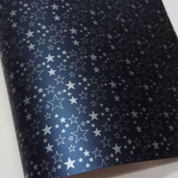 Papel Estrelas - Pérola Azul Petróleo com Prata - Tam. 47x65cm - 180g/m²