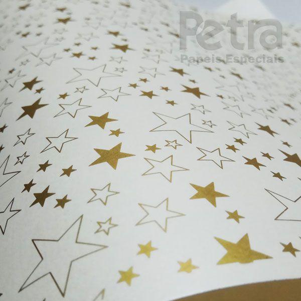 Papel Estrelas - Pérola com Dourado - Tam. 32x65cm - 180g/m²