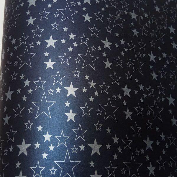 Papel Estrelas - Pérola Negra com Prata - Tam. 30,5x30,5cm - 180g/m²
