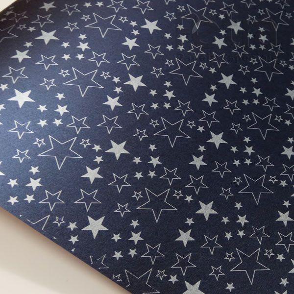 Papel Estrelas - Pérola Negra com Prata - Tam. 32x65cm - 180g/m²