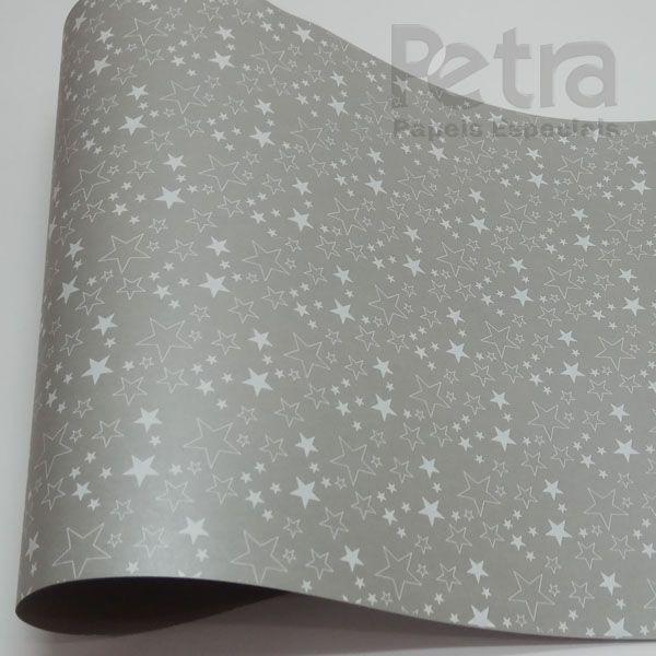 Papel Estrelas - Pérola Prata com Branco - Tam. 30,5x30,5 - 180g/m²