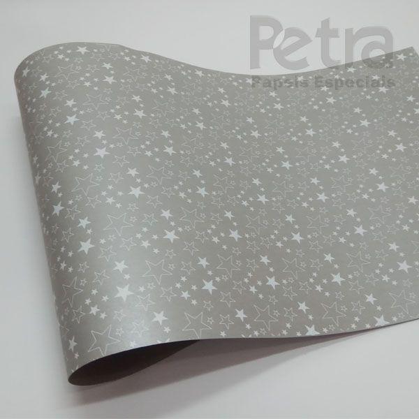 Papel Estrelas - Pérola Prata com Branco - Tam. A4 - 180g/m²