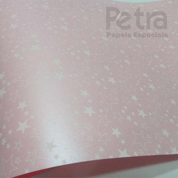 Papel Estrelas - Pérola Rosa Claro com Branco - Tam. 30,5x30,5cm - 180g/m²