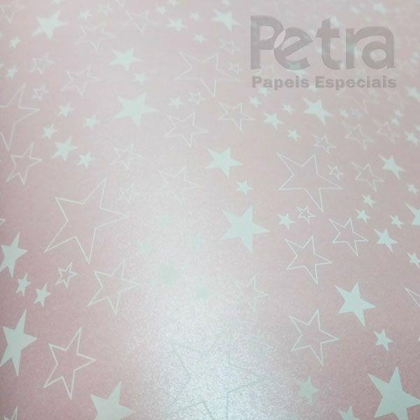 Papel Estrelas - Pérola Rosa Claro com Branco - Tam. 32x65cm - 180g/m²