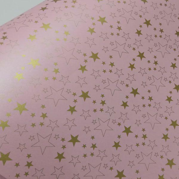 Papel Estrelas - Pérola Rosa Claro com Dourado - Tam. 32x65cm - 180g/m²