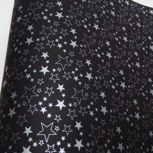 Papel Estrelas - Preto com prata - Tam. 30,5x30,5 - 180g