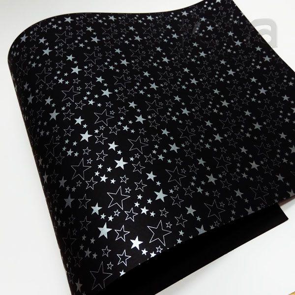Papel Estrelas - Preto com Prata - Tam. 32x65 cm - 180g/m²