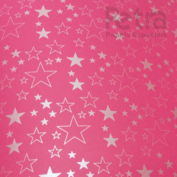 Papel Estrelas - Rosa Pink com Prata - Tam. 47x65cm - 180g/m²