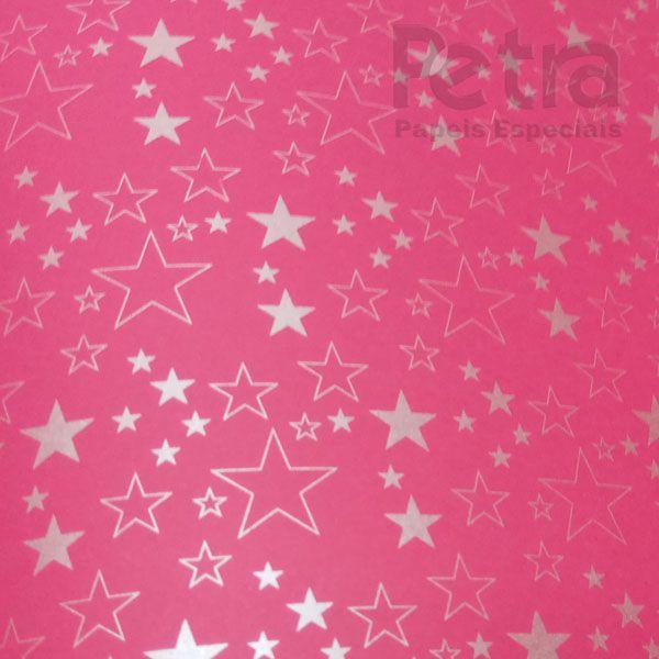 Papel Estrelas - Rosa Pink com Prata - Tam. A4 - 180g/m²