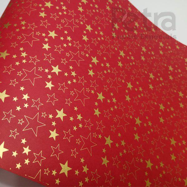 Papel Estrelas - Vermelho com Dourado - Tam. 32x65cm - 180g/m²
