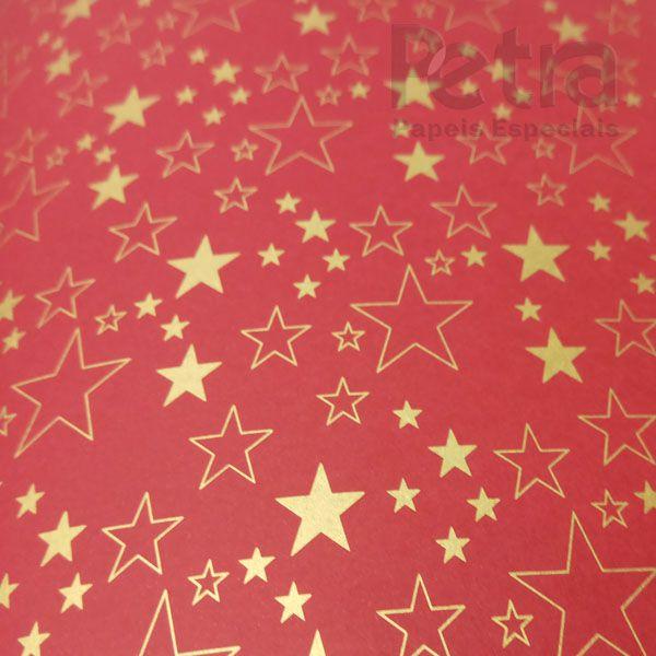 Papel Estrelas - Vermelho com Dourado - Tam. 47x65cm - 180g/m²