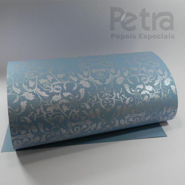 Papel Floral Ref 01 - Azul Céu com prata - Tam. A4 - 180g/m²