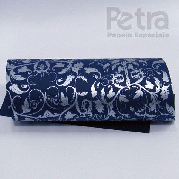 Papel Floral Ref 01 - Azul escuro com prata - Tam. 30,5x30,5 - 180g/m²