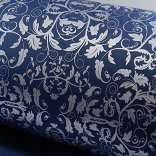 Papel Floral Ref 01 - Azul escuro com prata - Tam. 47x65cm - 180g/m²