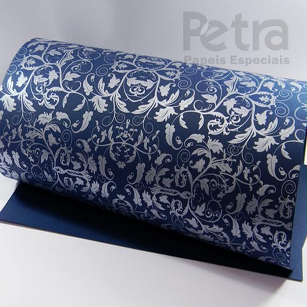 Papel Floral Ref 01 - Azul escuro com prata - Tam. A3 - 180g/m²