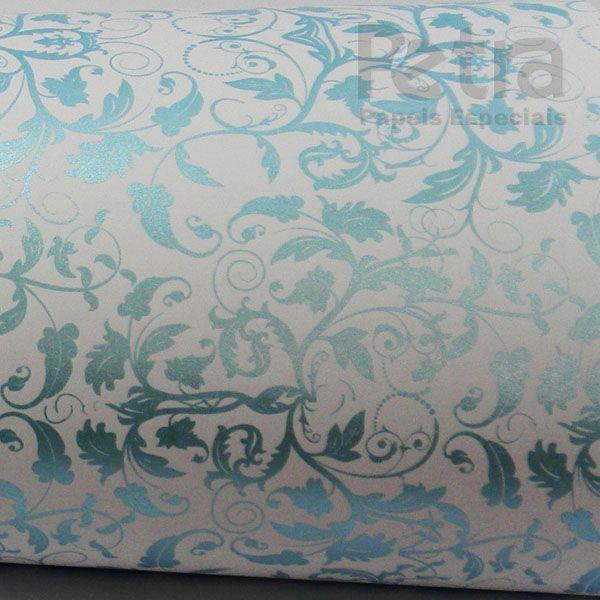 Papel Floral Ref 01 - Branco com Azul  - Tam. 32x65cm  - 180g/m²
