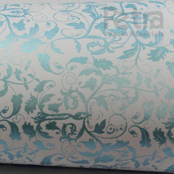 Papel Floral Ref 01 - Branco com Azul  - Tam. A3 - 180g/m²