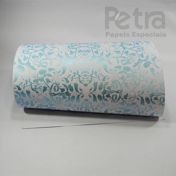 Papel Floral Ref 01 - Branco com Azul  - Tam. A4 - 180g/m²