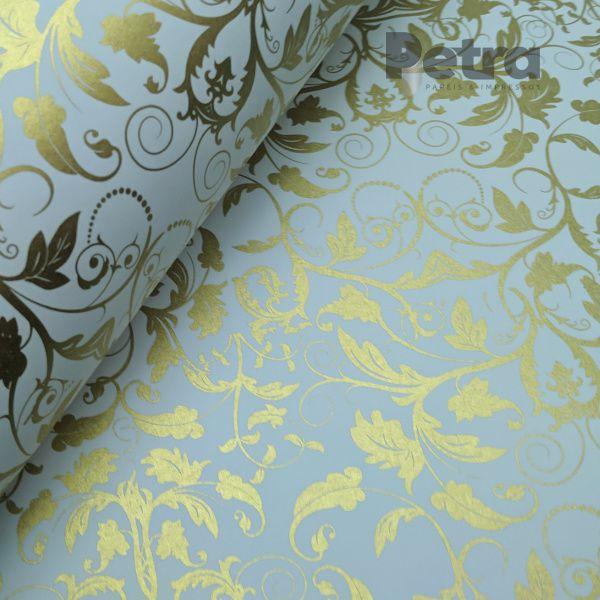 Papel Floral Ref 01 - Branco com Dourado  - Tam. 30,5x30,5cm - 180g/m²