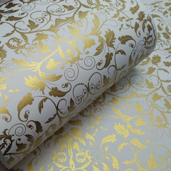 Papel Floral Ref 01 - Branco com Dourado - Tam. 47x65cm - 180g/m²