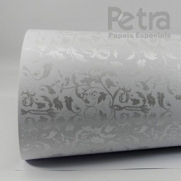 Papel Floral Ref 01 - Branco com Pérola - Tam. 30,5x30,5 - 180g/m²